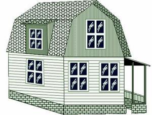 Двухскатная ломаная крыша