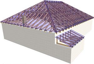 Стропильная система для четырехскатной крыши